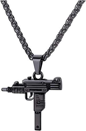 LBBYMX Co.,ltd Collar de Moda Punk Rock Collar Uzi Rifle Forma Colgante Cadena Cool Men Jewelry Gift For Him
