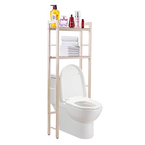 WC-meubel, van hout, rek voor de badkamer, met 2 planken, opbergmeubel boven het toilet, stabiel, praktisch, voor badkamer, 50 x 20 x 133 cm
