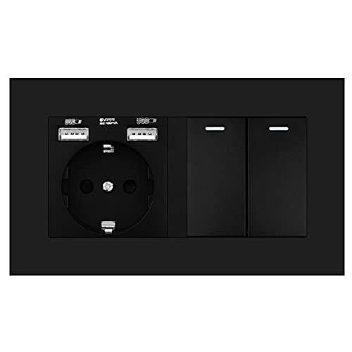 Zócalo con interruptor de balancín, toma de corriente de pared 220V 16A con panel USB 146 * 86 PC con interruptor de luz 2gang 1 / 2way-Negro_2 GANG 3 WAY