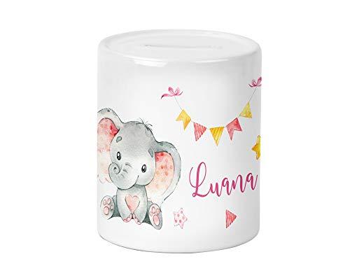 Yuweli Baby Girl Elefant Kinder-Spardose für Mädchen mit Namen personalisiert zur Einschulung Taufe Geburtstag Geburt Sparschwein Geldgeschenk