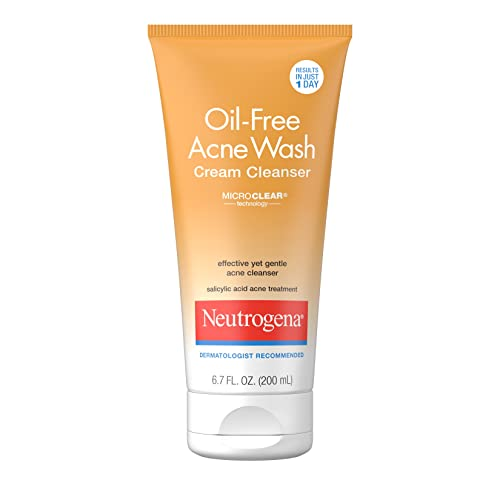 Neutrogena Oil-Free Acne Face Wash Cream Cleanser with 2% Salicylic Acid Acne Treatment, Non-Comedogenic & Gentle Daily Facial Cleanser for Acne-Prone Skin, 6.7 fl. oz