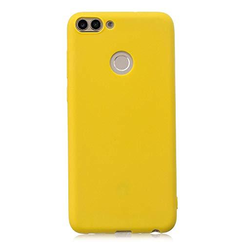 cuzz Huawei Honor 7S Hülle Case+{1 x Panzerglas Schutzfolie} Silikon Schutzhülle Handyhülle,Outdoor Stoßfest Schutzhülle Schmaler Telefonschutz,Staub & Scratch-Stoßfest-Gelb