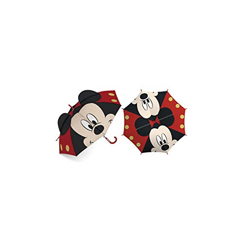 ARDITEX WD13373 Paraguas de poliéster de Disney-Mickey en 3D, 8 Paneles, diámetro 86cm, Apertura Manual