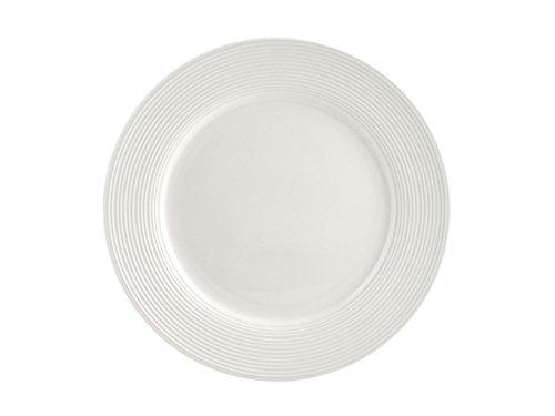 H&H New Port Set 6 Piatti Piani, Porcellana, Bianco, 27 cm