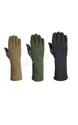 Nomex Flight Gloves Military Flight Gloves Nomex Gloves Olive drab Best Leather Aviator Gloves and Pilot Gloves Nomex (Large, Black)