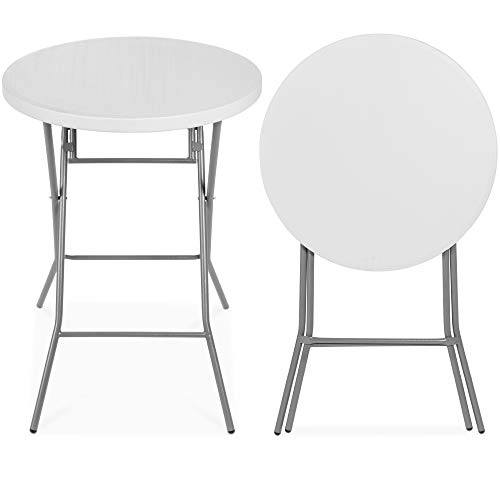 Best Choice Products 32in Bar Height Folding Table, Round Indoor Outdoor Accessory for Patio, Backyard, Dining Room, Events w/Thick Table Top, Metal Frame, Locking Legs, 330lb Weight Capacity - White