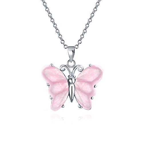 Hecho a mano tallado luz rosa rosa cuarzo translúcido jardín mariposa colgante collar para las...