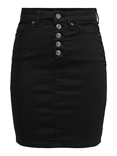 Only ONLBLUSH Life HW BTN BB Skirt ANA013 Falda, Negro, XL para Mujer