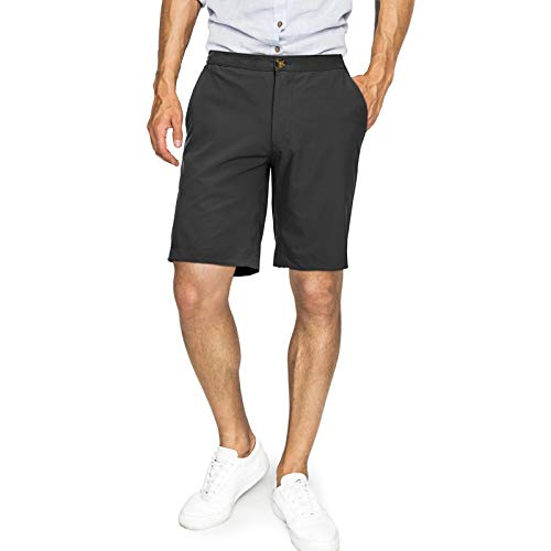 33,000ft Mens Daily Shorts with Elastic Waist Drawstring Summer Casual Sports Shorts for Hiking, Camping, Dating, Working Black