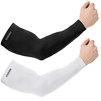 KMMIN Arm Sleeves UV Protection for Driving Cycling Golf Basketball Warmer Cooling UPF 50 Sunblock Protective Gloves for Men Women Adults Covering Tattoos Black/White