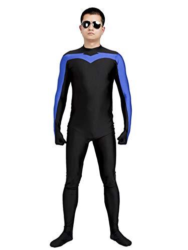 N/X Adults' Blue and Black High Elastic Fabric Halloween Nightwing Cosplay Costume Superhero Cosplay Zentai Suit (Large)