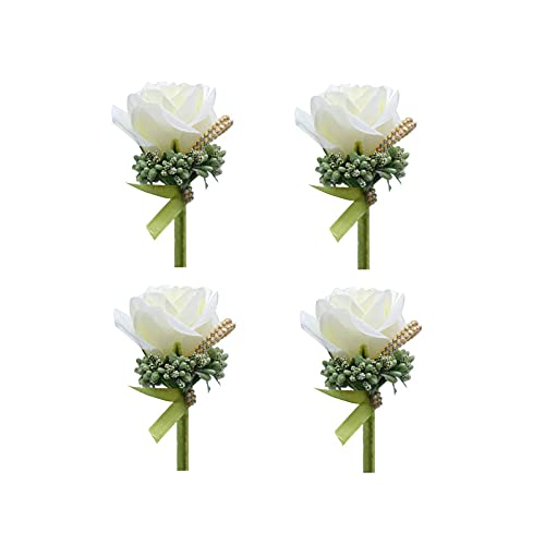 4 boutonniere Rose boutonniere hecho a mano, ojal flores artificiales con pin...