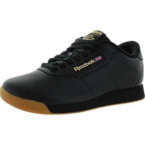 Reebok Women's Princess-Sneaker Walking Shoe, Black/Gum, 5 M US