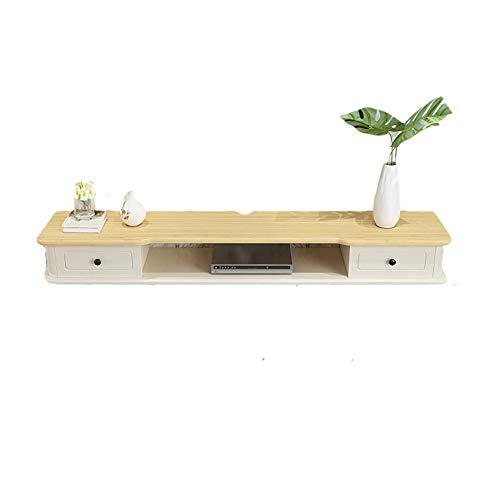Mueble TV Colgante, consola de TV de pared de madera maciza, soporte de carga fuerte, diseño de doble cajón, ahorra espacio, puede colocar enrutadores, decodificador, consola de juegos/B / 140