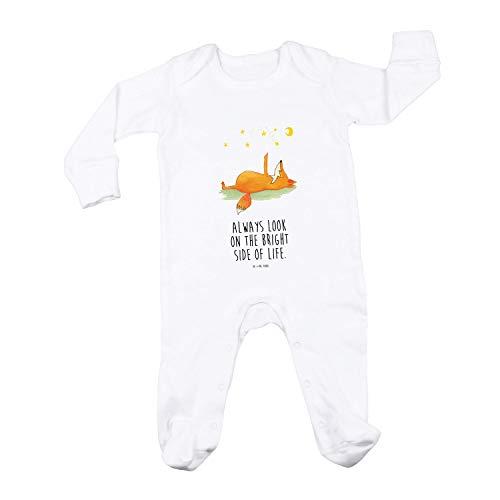 Mr. & Mrs. Panda Schlafanzug, Neugeborenes, 6-12 Monate Baby Strampler Fuchs Sterne mit Spruch - Farbe Weiß
