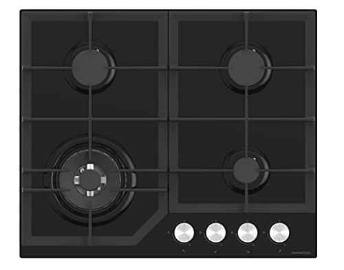 PremierTech Placa de cocción a gas de cristal negro de 60 cm,...