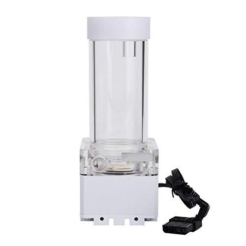 Eboxer 800L / H 8W 7V Tanque de la Bomba de Refrigeración por Agua con 4 Metros Cabeza de Bomba y LED Indicador de Alimentación G1 / 4 Rosca Disipación de Calor Rápida CPU (Blanco (17cm))