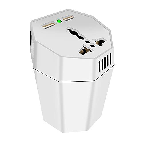 prasku Inversor de Corriente para Automóvil DC 12V a 220V AC 400W, 2 Salidas USB, Protección Completa Múltiple, Accesorios Profesionales - blanco