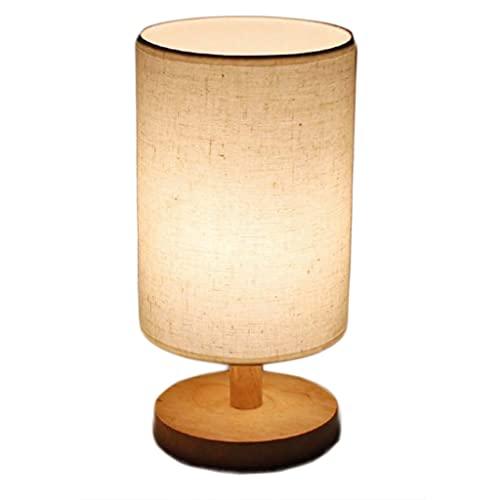 Lámpara de mesa con USB Puerto - Toque Control de la lámpara de la lámpara de madera de la lámpara de mesita de noche regulable de 3 vías con tapa de tela de lino redondo. ( Color : Jute fabric )
