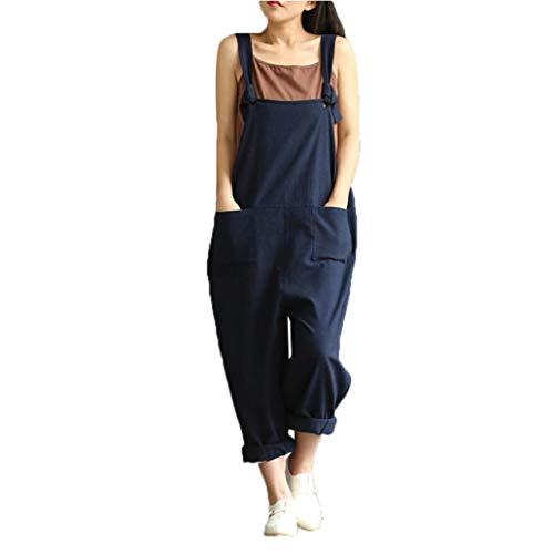 Ode_Joy Abbigliamento da Donna di Grandi Dimensioni Letterario retrò Pantaloni Casual Bib Pant, Sciolto Salopette Lunga Tinta Unita Bavaglino Tuta Casual Elegante Harem(Blu,L)