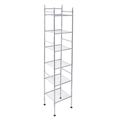 "Honey-Can-Do BTH-03484 6 Tier Metal Tower Bathroom Shelf, 12.6""L x 11""W x 60""H, Chrome"