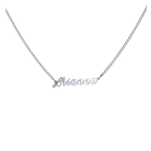 WIGERLON Custom Name Necklace Personalized Pendant 18k White Gold Plated for Women and Girl Brianna
