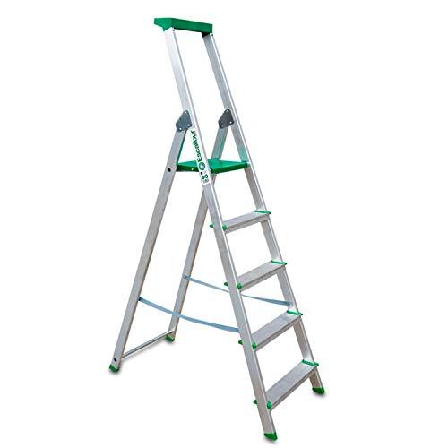 Escalibur | ES.Dom | Escalera de Aluminio | Escalera 5 Peldaños | 181x45x12 cm | Uso Doméstico | Utilizada en Trabajos de Bricolaje | Taco Antideslizante | Máxima Seguridad y Confort