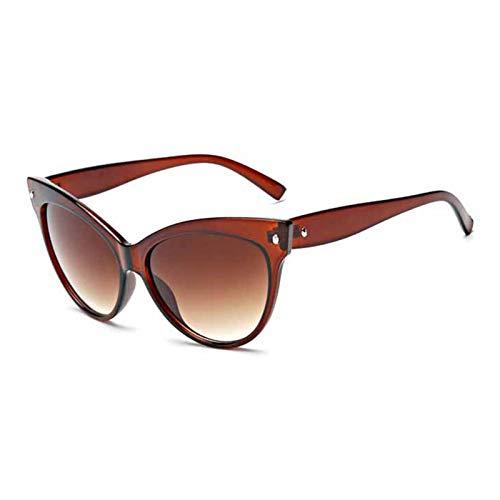 SCAYK Nuevas Mujeres Gato Ojo Gafas de Sol Moda Sexy UV400 Gafas de Sol Degradado Lente plástico Hembra Gafas Gafas de Sol Gafas de Sol Gafas de Ojos Moda Gafas de Sol (Lenses Color : C2Brown)