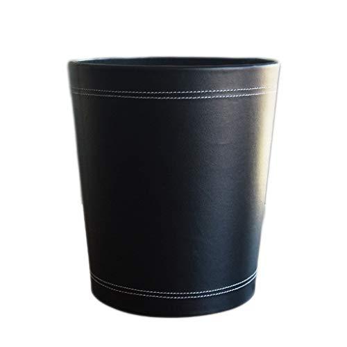 FEANG Ronda de la Basura de Cuero Can, Clásico Negro Papelera Papelera de Reciclaje Papelera de Almacenamiento de baño Cocina Office, sin Tapa