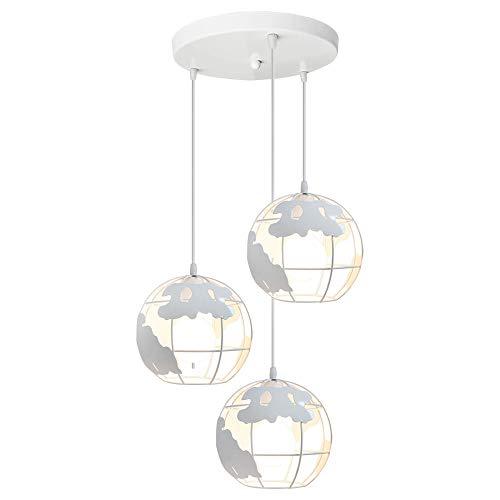 Lámpara Colgante de Globo Terráqueo Grupo de 3 vías Hierro Creativo 3 cabeza Industrial Luz de Techo Decoración para Restaurante Loft Escalera Casa(Blanco)