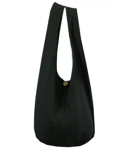 BenThai Products BTP! Thai Monk Buddha Cotton Sling Crossbody Messenger Bag Shlouder Purse Hippie Hobo Medium M2 (Black M2), Large