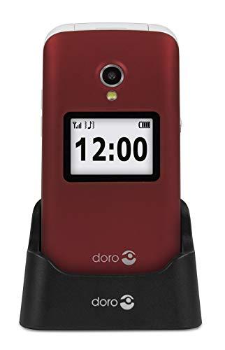 Doro 2424 Telefono Cellulare 2G a Conchiglia per Anziani con Fotocamera da 3 MP, Display Esterno e Base per Ricarica (Rosso) [Versione Italiana]