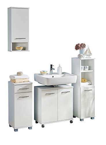 lifestyle4living Badmöbel Set in Weiß, 4 teilig mit Waschbeckenschrank auf Rollen | Moderne Badezimmermöbel