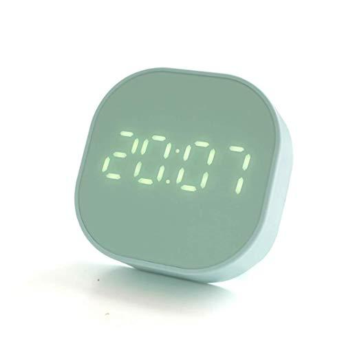 HJTLK Reloj Despertador para niños, Despertador Digital con luz Nocturna, pequeño Reloj Despertador Recargable con función de Temperatura, para el Dormitorio del hogar, Azul