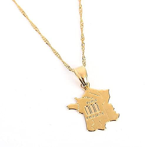 Kkoqmw Collar con Colgante Mapa de Francia