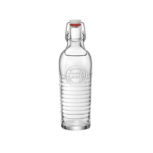Bormioli Rocco Officina Water Bottle, 37.25 oz, with Airtight Seal & Metal Clamp