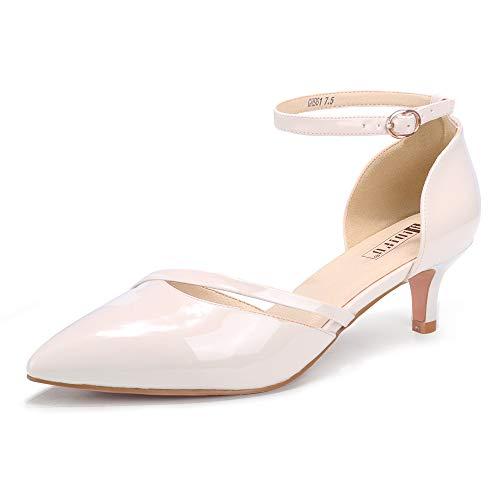 IDIFU Women IN2 Maxine Low Kitten Heels Dress Pumps Wedding Evening Formal Elegant Closed Toe Shoes for Women Bride(Nude Patent  75 M US)
