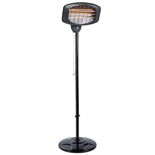 Slabo elektrischer Stand-Heizstrahler Ø ca. 45 cm mit Verstellbarer Höhe 120-210 cm Wärmestrahler Gartenheizung Balkonheizer für Innen- und Außenbereich | 2.000 Watt mit 3 Heizstufen I Schwarz