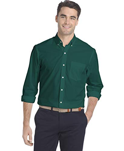 IZOD Men's Fit Button Down Long Sleeve Stretch Performance Solid Shirt, Deep Teal, X-Large Slim