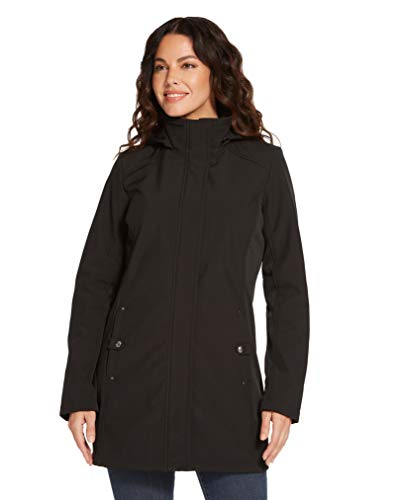 Weatherproof Womens Raincoat Lightweight Softshell Water Resistant Rain Jacket with Detachable Hood (Black, 2X)