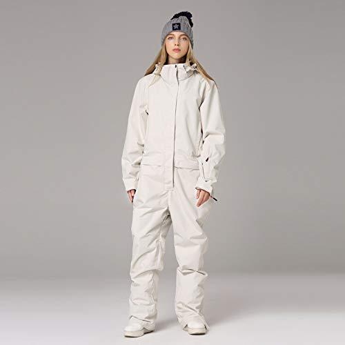 YIEBAI Traje de esquí para Mujeres y Hombres, Chaqueta de esquí de montaña, Pantalones de Snowboard, Mono de Nieve cálido de Invierno Impermeable para Mujer,Women in White,XL