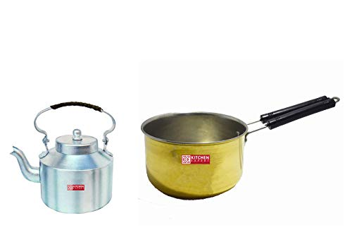 Kitchen Expert Combo of Aluminium Tea Serving Kettle with Handle & Brass Saucepan, Set of 2 pcs