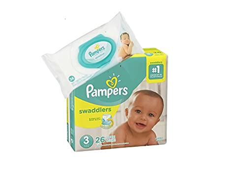 Pampers Swaddlers Disposable Size 3 Diapers (26 Count) Bundle with 36 Pampers Sensitive Care Baby Wipes