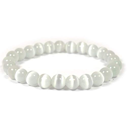 Reiki Crystal Products Natural Selenite Bracelet 8mm for Reiki Healing and Vastu Correction Protection Concentration Spirituality and Increasing Creativity