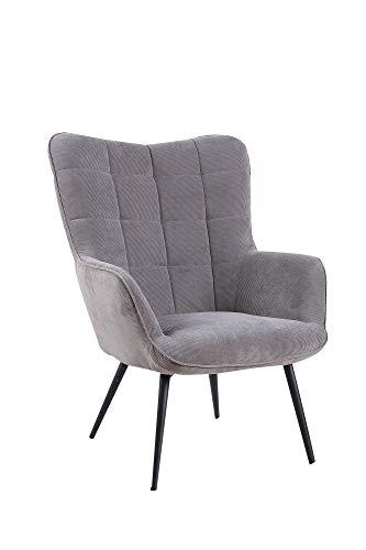 HOMEXPERTS Sessel ULLA / Relaxsessel mit grauem Cordstoff / Füße aus Metall / Polsterstuhl / Polstersessel / Wohnzimmermöbel / Relaxchair / Schlafzimmermöbel / 72 x 97 x 80 cm (BxHxT)