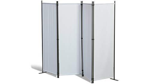 GRASEKAMP Qualität seit 1972 Paravent 4 teilig Weiß Raumteiler Trennwand Sichtschutz Balkontrennung