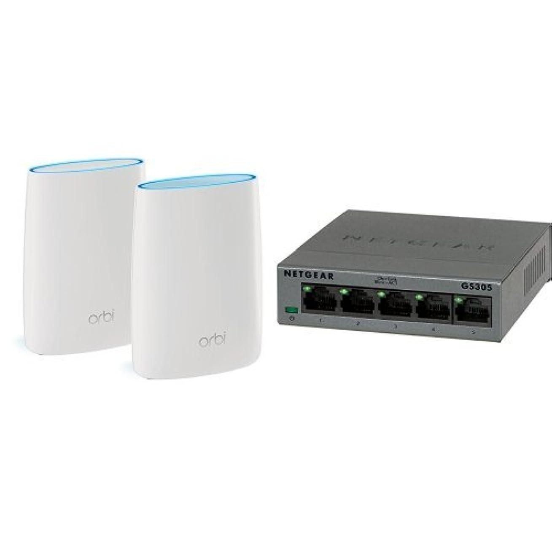 乳剤植生かかわらずNETGEAR WiFi 無線LAN 親機 ルーター 11ac 1733+866+400Mbps (接続推奨 最大30台/1ユニット) Orbi ホームWiFiシステム スターターキット RBK50-100JPS + スイッチングハブ ギガ 5ポート ファンレス 設定不要 hub AC電源 3年保証 GS305-100JPS