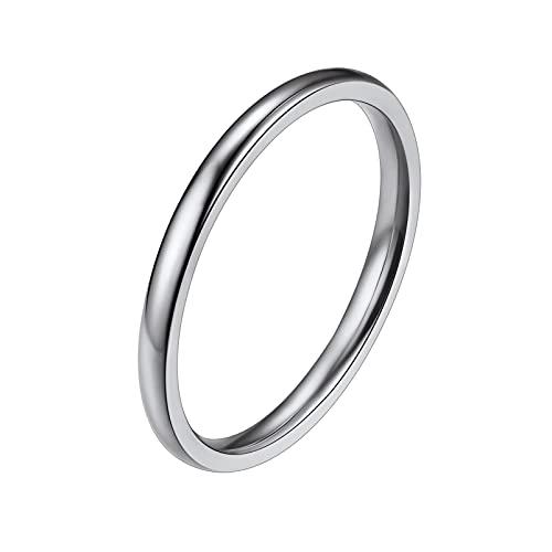 PROSTEEL Anillo Pulido de Banda 2mm Mujer Color Plata, Anillo Midi Delgado Spinner Ring Acero Quirurgico -Anillo 14.5