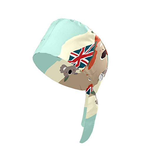 Upgrade Working Cap with Button Cute Koala Australia Day Hair Covers for Woman Adjustable Tie Back Sweatband Cotton Fabric Headband Breathable Working Hat