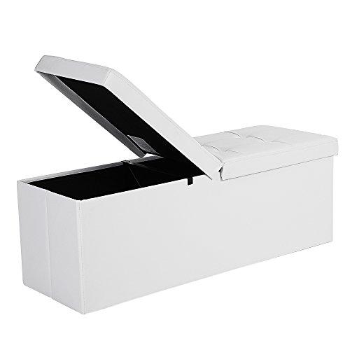 SONGMICS Baúl Puff Taburete para almacenaje Plegable Carga Máxima de 300 kg Blanco 110 x 38 x 38 cm LSF75WT